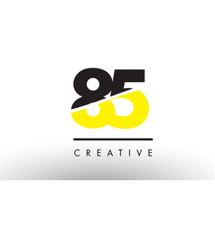 85 black and yellow number logo design vector