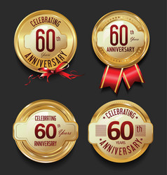 anniversary retro golden labels collection 60 vector image