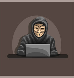 Anonymous hacker wear mask and hoodie vector