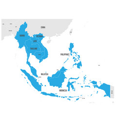 Asean economic community aec map grey map vector