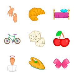Babysitter woman icons set cartoon style vector
