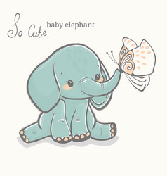 baelephant with butterfly cute animal drawing vector image