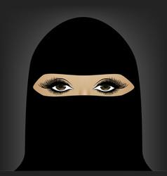 Beautiful muslim woman in hijab on dark vector