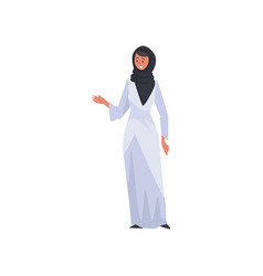 beautiful muslim woman in white dress and black vector image