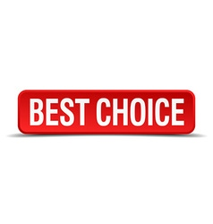 Best choice red three-dimensional square button vector