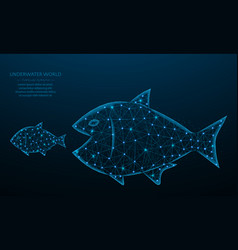 Big fish eat small low poly design predator and vector