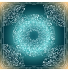Blue and white marine bandana square pattern vector image