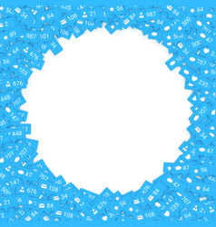 Blue icons of social media network activity vector