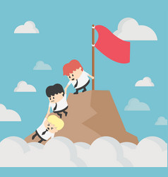 businessman helping each other hike up a mountain vector image