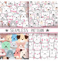 cat dog bear - seamless pattern vector image