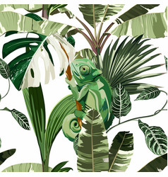 chameleon tropical palm leaves seamless pattern vector image