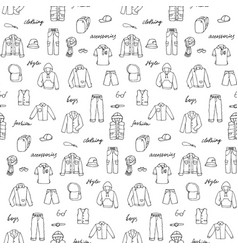 Childish boy clothe and lettering doodle seamless vector