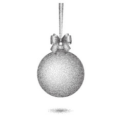 christmas dotted bauble with bow vector image