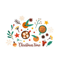 christmas time festive decorations flat set vector image