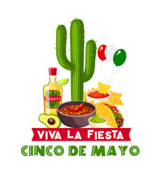 Cinco de mayo mexican fiesta food and drink icon vector