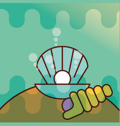 clam shell sea life cartoon vector image