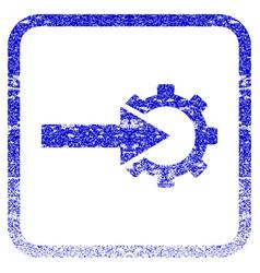 Cog integration framed textured icon vector