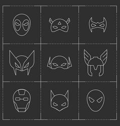 comic superhero masks set vector image