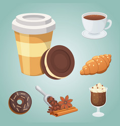 Cup of coffee cappuccino latte and chocolate vector