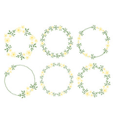 cute flat style minimal white yellow flower vector image