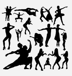dancer male and female action silhouette vector image