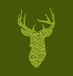 deer head on white hand drawn vintage vector image