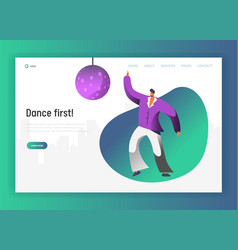 disco ball dancer character landing page dance vector image