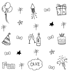 Doodle many element birthday vector