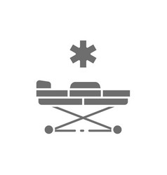 emergency stretcher trolley grey icon isolated vector image