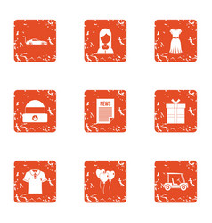 Engagement icons set grunge style vector