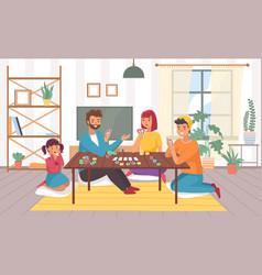family plays board games at home happy vector image
