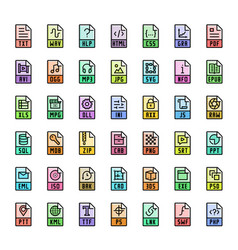 file format extensions colorful icon set vector image