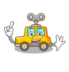 Finger clockwork toy car isolated on mascot vector