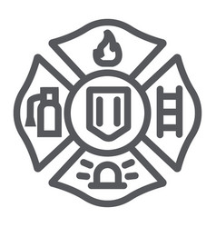 fire emblem line icon symbol and firefighter vector image