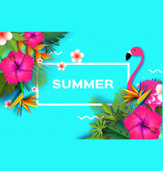 flamingo and pink hibiscus flower tropical summer vector image