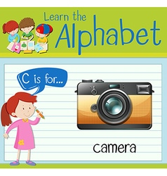 Flashcard letter C is for camera vector image