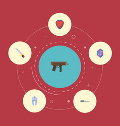 Flat icons gem protection firearm and other vector