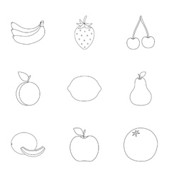 Fruits set icons in outline style Big collection vector