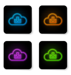 glowing neon cloud download icon isolated on vector image