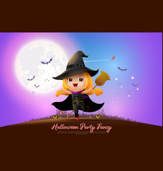halloween night full moon party fancy vector image