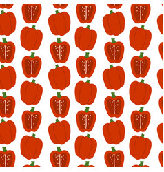 Hand drawn red pepper seamless pattern vector