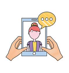 hands with smartphone woman speech bubble vector image