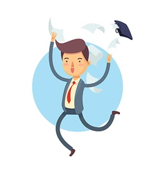 Happy Businessman Throw His Bag Away vector