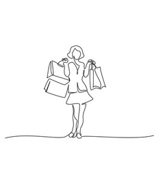 Happy young woman with shopping bags one line vector