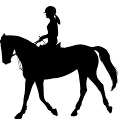 high quality silhouette young female riding vector image