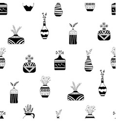home flowers in vases with black patterns vector image