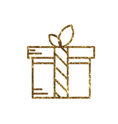 Isolated glitter golden holiday gift box icon vector