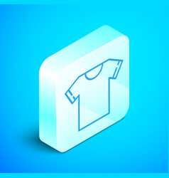 Isometric line t-shirt icon isolated on blue vector