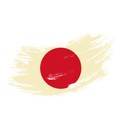 Japanese flag grunge brush background vector