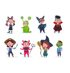Kids halloween costumes cartoon cute baat vector
